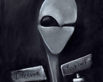 Grey Alien Discover Yourself - charcoal and white pastel
