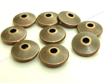 12mm Antique Copper Metal Beads - 20pcs - Round Saucer, Rondelle, Spacer - BH6