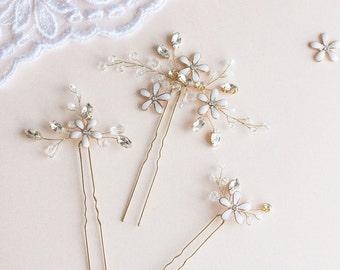 Wedding Hair Pins,  Flower Hair Pins, Bridal Hair Pins, Wedding Headpiece, Blossom Hair Pins, Wedding Hair Accessory, Gold Hair Pins- LUISA