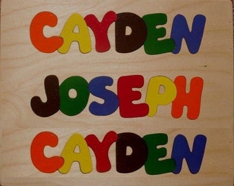Wooden Custom Name Puzzle - any THREE names