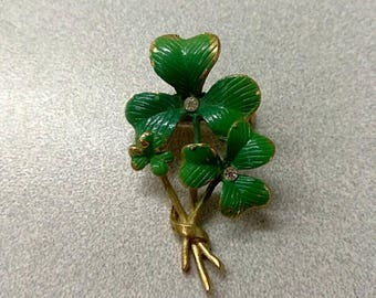 Vintage Green Three Leaf Clover Brooch Pin, Clover Jewelry, Enamel and Rhinestone Brooch Pin, Mid Century Brooch, Accessories, Boutique