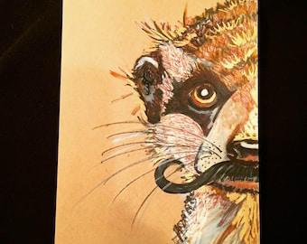 Mongoose Art, Mongoose Illustration, Mongoose Drawing, Mustache Art, Children's Room ArtAnimal Art, Original Illustration,Mixed Media Art