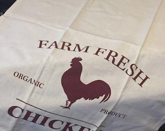 Farm Fresh Chicken Tea Towel, Fun Tea Towels, Farm Fresh. Flour Sack, VIntage Tea Towel, Kitchen Towels, Rustic Tea Towels, Farmhouse Decor