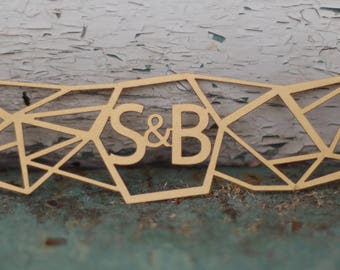 Modern Geometric Wedding Invitation Laser Cut Belly Band