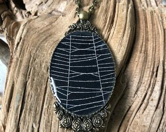 Spider Web Necklace, Spider Web Pendant, Bronze Victorian Pendant, Gothic Necklace,  Victorian Pendant, Genuine Preserved Spider Web B3