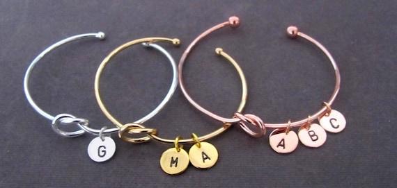 Tie the Knot Bracelet, Rose Gold Bracelet,Bridesmaid Gift,Sorority Gift, Love Knot Bracelet,Gold Initial Bracelet, Free Shipping USA