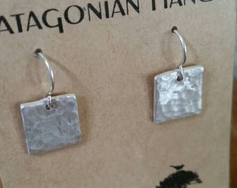 FREE SHIPPING. Fine Silver (.999) square hand hammered hand sawed, simple, elegant, everyday esrrings.