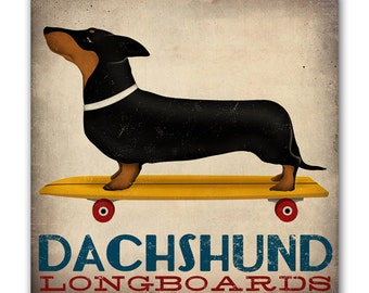 DACHSHUND Wiener Dog Longboards Skateboard  - Gallery Wrapped Canvas Wall Art Signed
