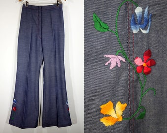 """Vintage 70's Embroidered Bell Bottoms Pants 27"""" x 31"""""""