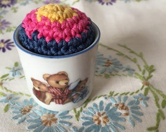 Cute pincushion, crochet pincushion, teddy bear pincushion, pottery pincushion