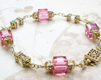 Gold Pink Cube Bracelet, Champagne, Swarovski Crystal, Gold Filled, Wedding, Bridal Party, Bridesmaid, Handmade Jewelry October Birthday