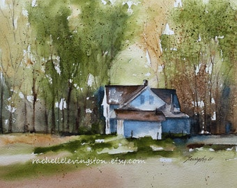 Original painting fall original landscape painting original watercolor painting original farm painting farm tree sheep animal blue sale 8x10