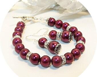 Burgundy Bracelet, Earrings, Bridesmaid Jewelry, Bridesmaid Gift, Wedding Jewelry, Deep Burgundy,Pearl Jewelry, Winter Wedding, Burgundy Set