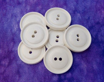 White Sew-Through Buttons, 22mm 7/8 inch - White Buttons w/ Raised Rims & Curved Centers - VTG NOS Opaque White Plastic Sewing Buttons PL136