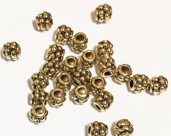 50 pcs d'antique tambour or Intercalaires Perles 4x4mm, perles intercalaires métal