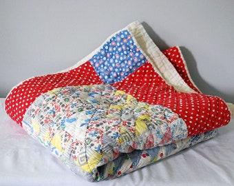 Handmade Quilt Blanket, Vintage Patchwork Quilt, Folk Art Textile, Twin Bedspread, Rustic Bedding, Shabby Chic Farmhouse Cabin Chic Decor