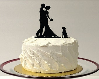 MADE In USA, Include Your Dog + Bride + Groom Silhouette Wedding Cake Topper Dog Pet Family of 3 Wedding Cake Topper Bride and Groom Topper