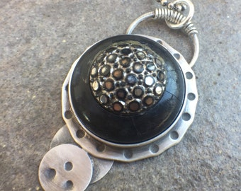 Vintage Button Sterling Silver Necklace