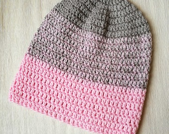 Pink slouchy beanie, cotton hat, vegan women's beanie, surf hat