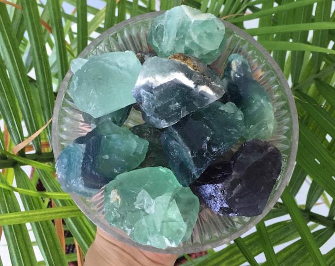 Rainbow Green Fluorite RAW Healing Crystals and Stones