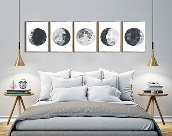Moon Phases Watercolor Art Prints - Set of 5 Lunar Phases Prints - Moon Chart Posters  - Mancave Decor  Modern Gift