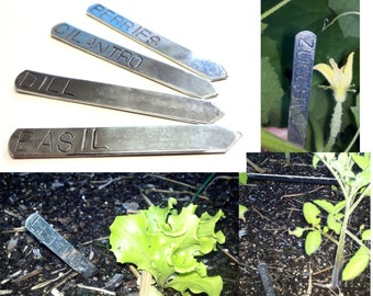 Customized Garden Markers, Hand Stamped Aluminum Herb Markers, Set of 6