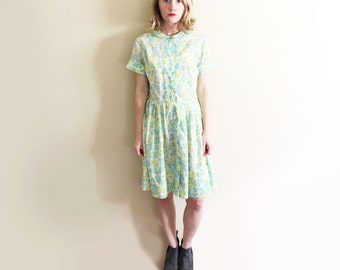 vintage dress 50's blue mint green floral print house 1950's size small s
