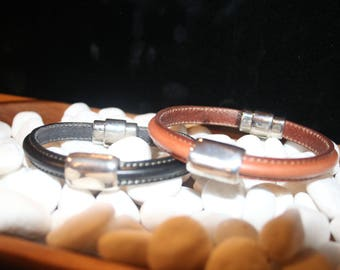 LEATHER BRACELET with antique silver plated magnetic clasp and silver slide