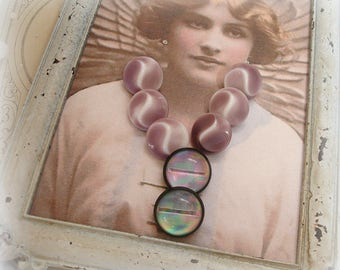 vintage purple buttons set of 6 glass white with smoky purple shank buttons and a pair of funky plastic ball buttons