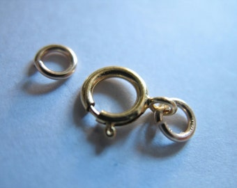 Gold Filled Springring Spring Ring Clasp Sets Bulk, 6 mm, for small 1 2 mm chains wholesale findings cs