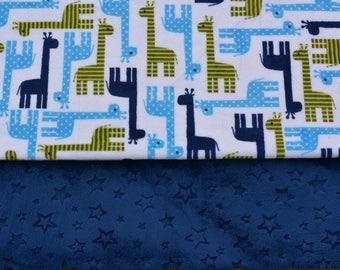 Personalized Blanket, Minky Baby Blanket, Double Minky Blanket, Baby Boy Blanket, Baby Shower Gift, Boy Shower Gift, Giraffe Blanket, Blue