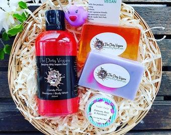 Vegan Gift Basket, Rose, Orange & Bergamot, Bath or Shower, Gifts for Her, Vegetarian Present, Handmade, sls paraben free, Gentle, 9''