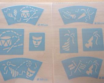 set of 2 porcelain and ceramics - pattern plates - ref.773 STENCILS