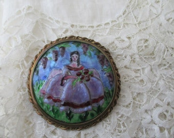 French enamel limoges brooch 1930's signed for the collector