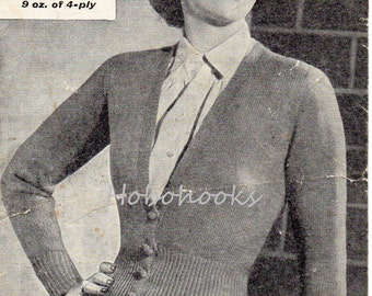 Womens Knitting Pattern 1930s Vintage Knitting Pattern Womens Long V Neck Cardigan Fitted Cardigan 35 inch 4 Ply PDF instant download