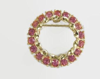 Vintage Pink Rhinestone Brooch October Birthstone