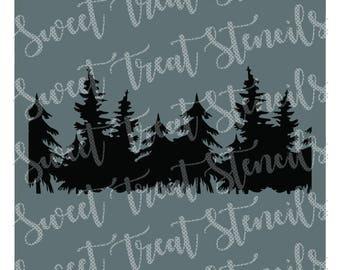 Woodland Trees Cookie Stencil