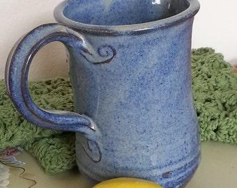 Long Throated Table Water Pitcher Swirls Cornflower Blue Stoneware