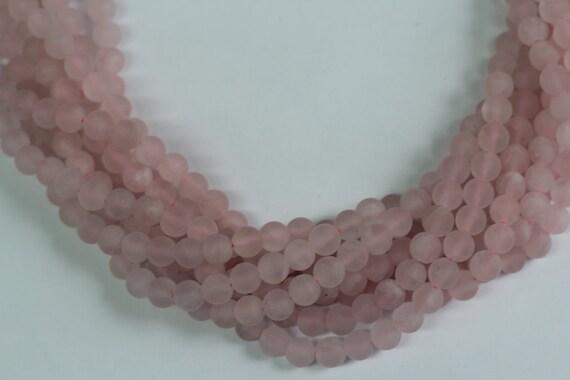 "Rose Quartz Matt Finish 8mm smooth round beads 16"" length full strand"