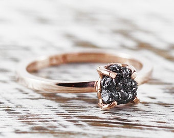 Rose Gold Ring Engagement Ring Dainty Ring Rose Gold Rose Gold Rings Wedding Ring Diamond Ring Uncut Black Diamond Engagement Rings