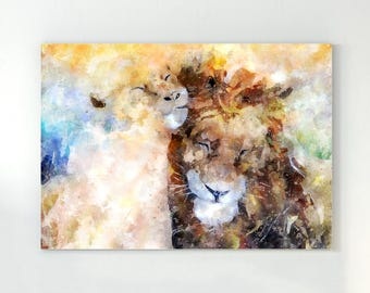 Lion art, lion wall art, lion painting, watercolor lion, lion watercolor, animal art, painting of lion, safari wall art, safari nursery art
