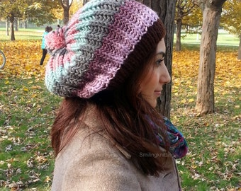 Ponpon Knit Hat,Winter Accessories, Women Hat, Slouchy Hat, Beret, Fall Colors, Beanie