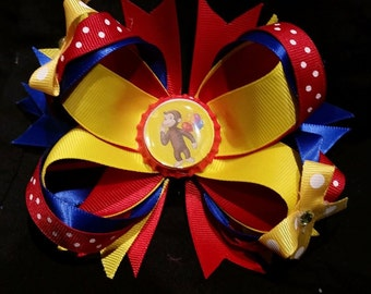 Curious monkey  layered hair bow 4 1/2inch