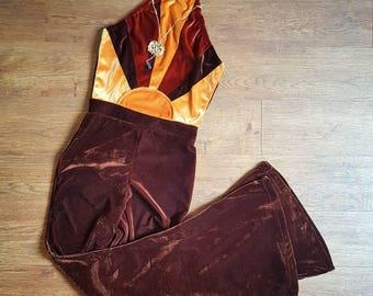 Sunrise halter Jumpsuit,  Velvet Bell bottom, Bell sleeve 70s Jumpsuit, boho