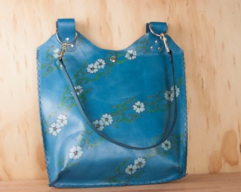Large Leather Tote Bag - Handmade Purse in the Willow Pattern in white, blue, green and yellow - Flower Handbag