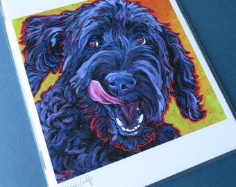 BLACK LABRADOODLE Dog Portrait 8x10 Signed Art Print from Painting by Lynn Culp