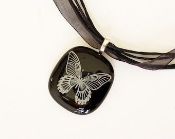White Butterfly on Black Fused Glass Pendant Necklace - Fused Glass Jewelry - Handmade Glass Necklace - Greenhouse Glassworks