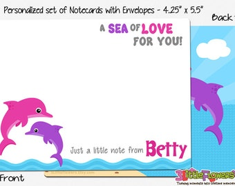 """Dolphin Note Cards - Set of Personalized Note Cards - 4.25"""" x 5.5"""" - Double-Sided Thank you Cards - Children Stationery - Kids Notecards"""
