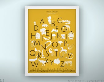 """Kids alphabet poster wall art fun learning tools kids playroom decor - Unframed 11 3/4  x 15 3/4"""" - Animal Alphabet Poster Color Punch"""