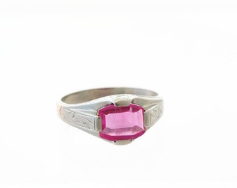 Art Deco Ring 10k White Gold Pink Tourmaline Hand Engraved Band Size 5.5 5.75